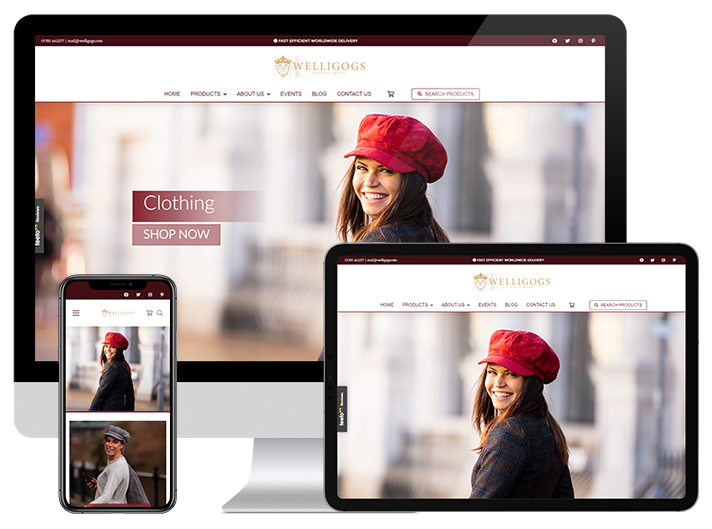 Welligogs, eCommerce Website Design for sought after British Fashion. Created by VOiD Applications.